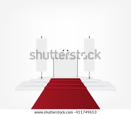 Podium with red carpet for award ceremony and flag banner - stock photo