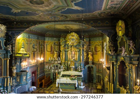 PODSTOLICE, CRACOW, POLAND - JUNE 30, 2015: Interior of the wooden antique church in Podstolice near Cracow. Poland - stock photo