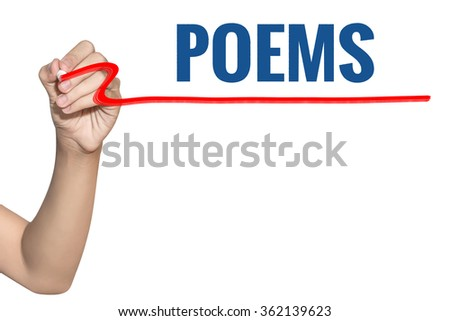 Poems word write on white background by woman hand holding highlighter pen - stock photo