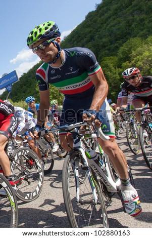 POGGIO ALLA CROCE, FIRENZE, ITALY - MAY 16: Giovanni Visconti during the 11th stage of 2012 Giro d'Italia on May 16, 2012 in Poggio alla Croce, Firenze, Italy - stock photo