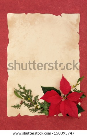 Poinsettia flower, mistletoe, ivy and pine leaf border over parchment and red mottled background. - stock photo