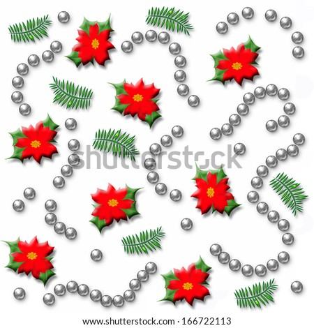 poinsettia scattered on white background with silver beads illustration - stock photo