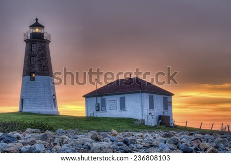 Point Judith Lighthouse at Dawn - stock photo