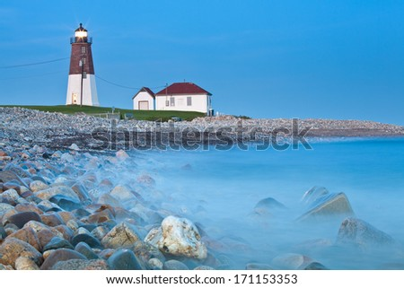Point Judith lighthouse Famous Rhode Island Lighthouse at dusk - stock photo