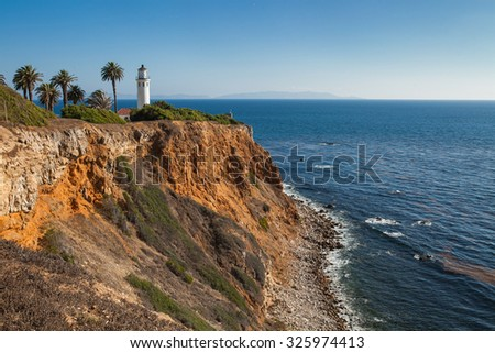 Point Vicente Lighthouse, Palos Verdes Peninsula, Rancho Palos Verdes, California, USA - stock photo