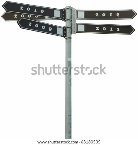 pointer with years as directions - stock photo
