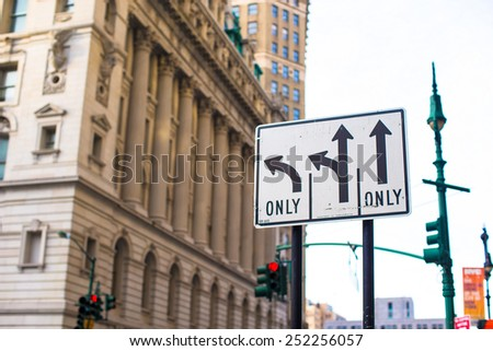 Pointers on the road to streets in New York City - stock photo