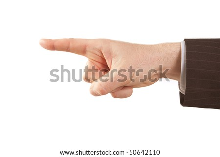 Pointing finger of isolated businessman hand over white - stock photo