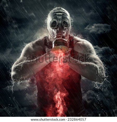 poisonous red smoke - stock photo