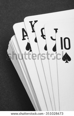 Poker card game with ace straight flush. Black and white. Vertical - stock photo