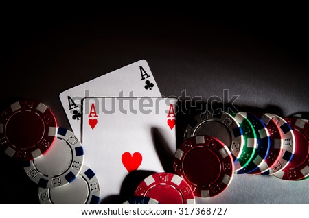 poker cards and chips on background - stock photo