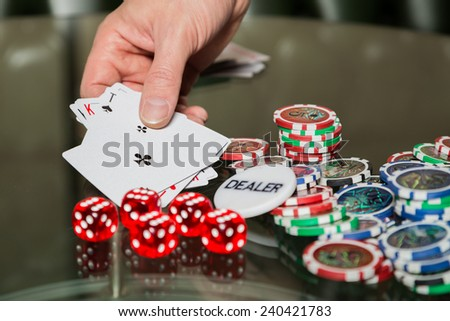 Poker cards and chips on the table. Card game, poker game. Casino games, card games, cards. The concept of the game in the gambling. - stock photo