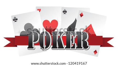 poker cards illustration design over a white background - stock photo