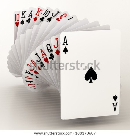 poker cards on a white background - stock photo