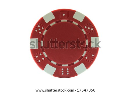 Poker chip isolated on white - stock photo