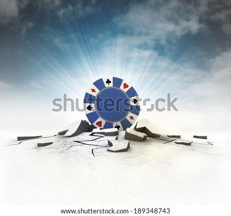 poker chip stuck into ground with flare and sky illustration - stock photo