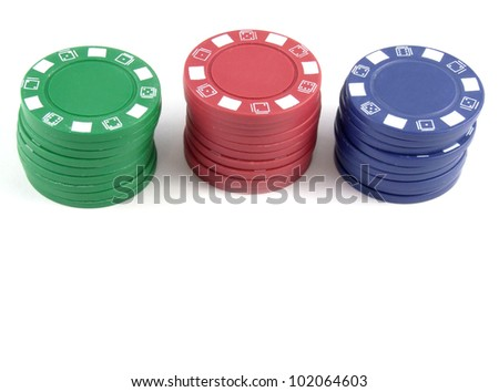 Poker Chips / Casino Chips with Copy Space at bottom - stock photo