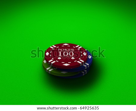 Poker chips close up on a green table - stock photo