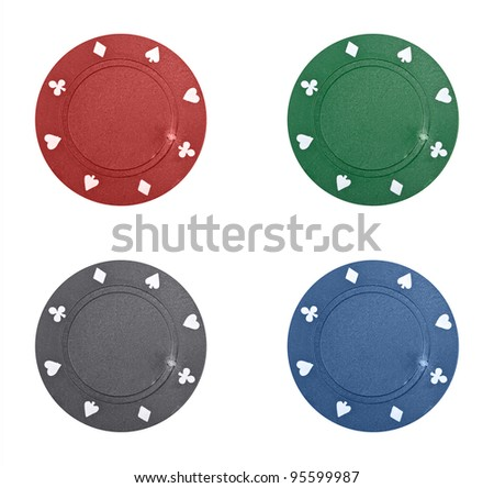 Poker chips collage on white background - stock photo