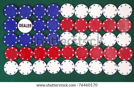 poker chips forming the American flag and dealer chip - stock photo