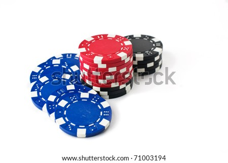 Poker chips isolated against a white background - stock photo