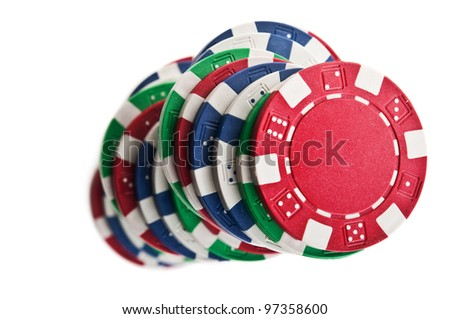 poker chips isolated on a white background - stock photo