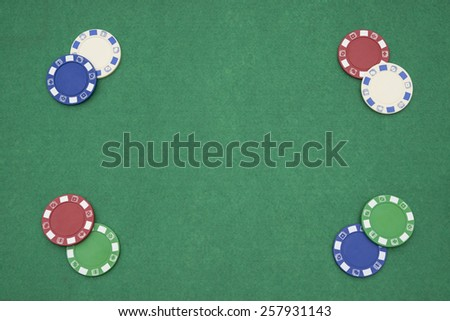 poker chips on casino table with copy space - stock photo