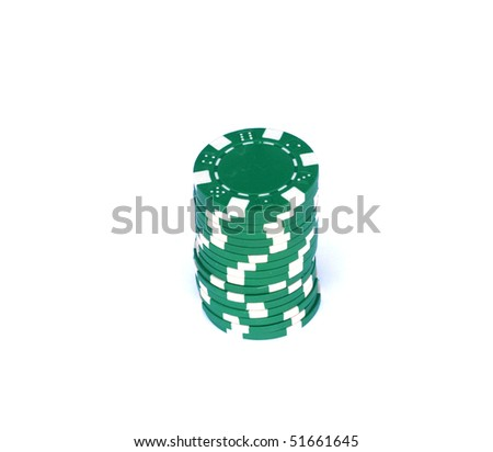 poker chips on the white background - stock photo