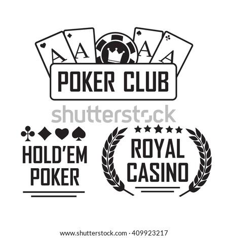 Poker club and casino sign set. Emblem casino - stock photo