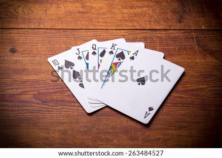 Poker. Combination Royal Flush spades - stock photo
