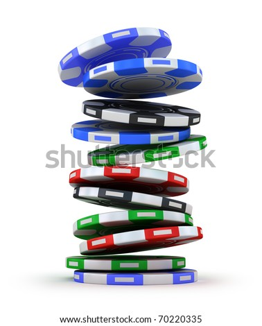 Poker gambling chips falling in pile isolated on white - stock photo