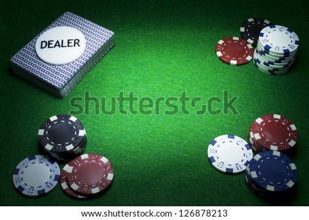 Poker Game Icons with copy space in the middle. Gambling concept - stock photo