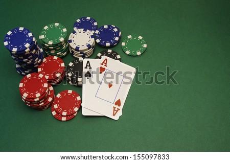 poker hand - aces - stock photo
