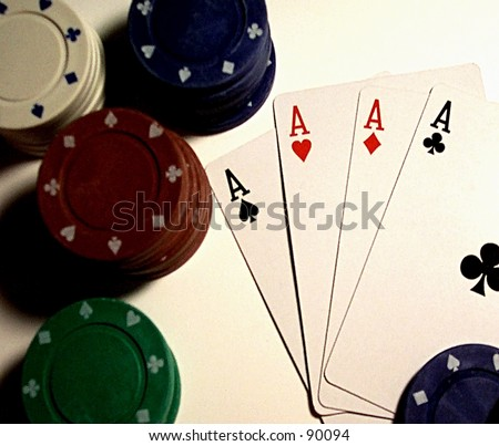 Poker Hand with Four Aces - stock photo