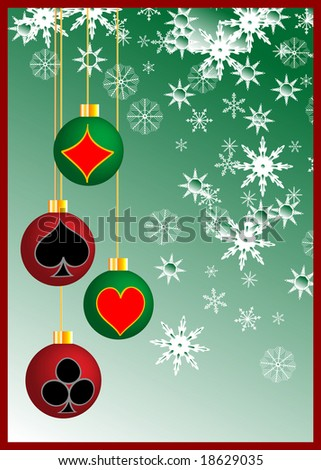 Poker in christmas - stock photo