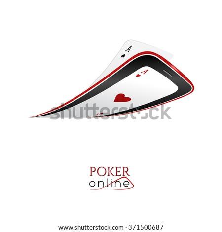 Poker online - logo for poker club or online casino - stock photo