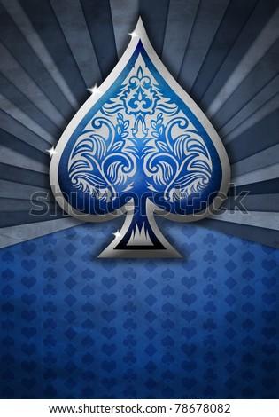 Poker spade on a blue bacground - stock photo