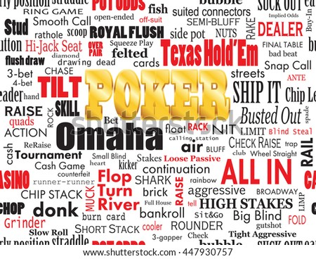 Poker Word Cloud with Industry Vernacular, Seamless, over White.  High-resolution raster JPEG version.  - stock photo