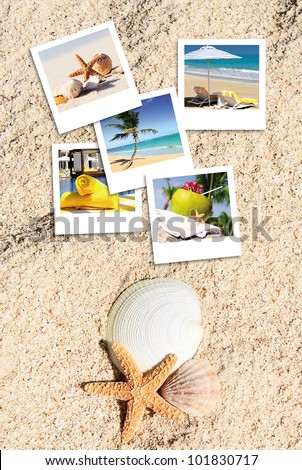 pola photography on the sand of a beach in summer with a sympatical message - stock photo