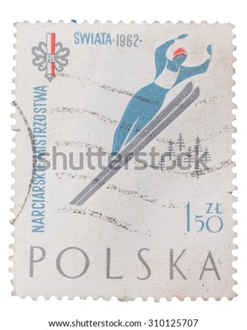 POLAND  A stamp printed in the Poland. SWIATA 1962 - stock photo