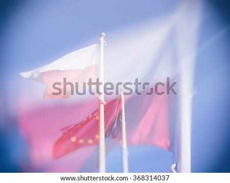 Poland and European Union flag, double exposure - stock photo
