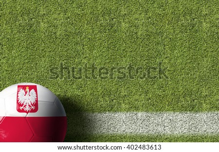 Poland Ball in a Soccer Field - stock photo