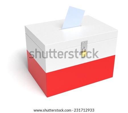 Poland ballot box with Polish Flag. Isolated on white background. - stock photo