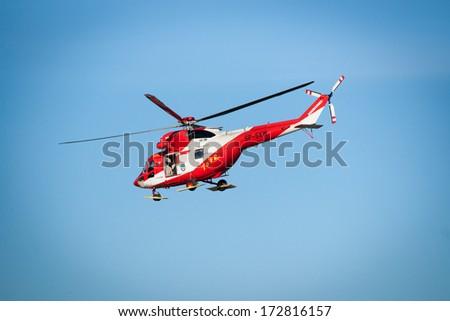 POLAND, BIALKA TATRZANSKA, JANUARY 18 2014, Tatra mountains rescue helicopter exercises - stock photo