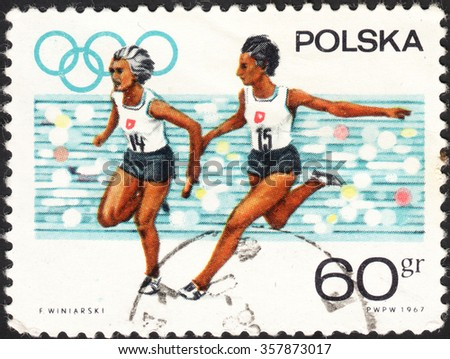 """POLAND - CIRCA 1967: a post stamp printed in POLAND shows run, the series """"Olympic Appeal"""", circa 1967 - stock photo"""