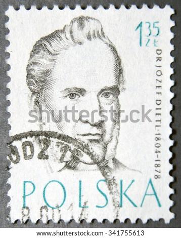 POLAND - CIRCA 1957: A postage stamp of Poland shows Dr Josef Dietl, Doctor - stock photo