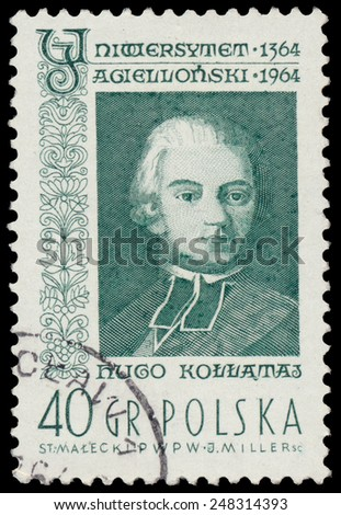 POLAND - CIRCA 1964: A stamp is printed in Poland shows Hugo Kollataj, circa 1964. - stock photo