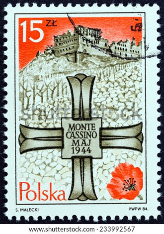 POLAND - CIRCA 1984: A stamp printed in Poland issued for the 40th anniversary of Battle of Monte Cassino shows Monte Cassino Memorial Cross and Monastery, circa 1984.  - stock photo