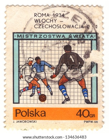 "POLAND - CIRCA 1966: A stamp printed in Poland shows a football players with the inscription ""Rome 1934, Italy - Czechoslovakia 2:1"" from series ""Football World Cup, England, 1966�, circa 1966 - stock photo"