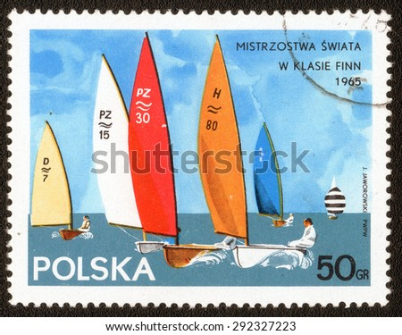 "POLAND - CIRCA 1965: A Stamp printed in Poland shows a series of images ""Competition in the Yachting World Sport"", circa 1965 - stock photo"